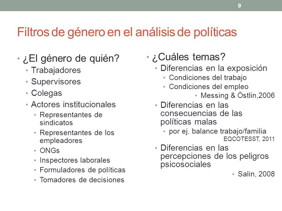 Filtros de género en el análisis de políticas