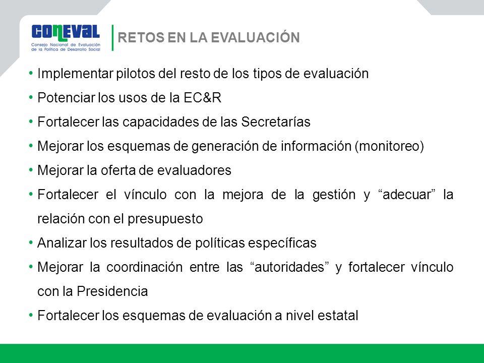 RETOS EN LA EVALUACIÓN Implementar pilotos del resto de los tipos de evaluación. Potenciar los usos de la EC&R.