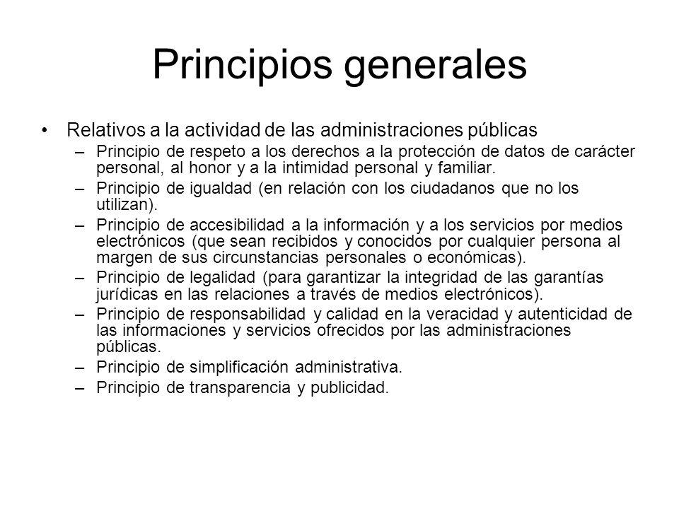 Principios generales Relativos a la actividad de las administraciones públicas.