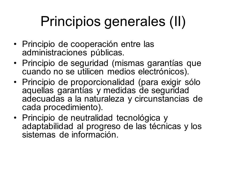 Principios generales (II)