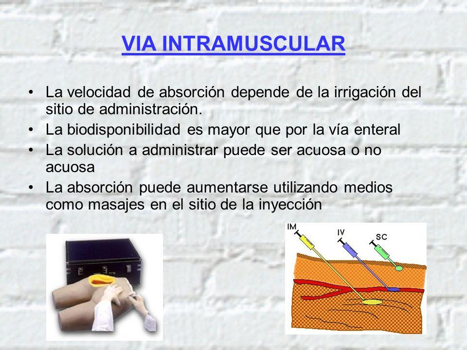 VIA INTRAMUSCULAR La velocidad de absorción depende de la irrigación del sitio de administración.