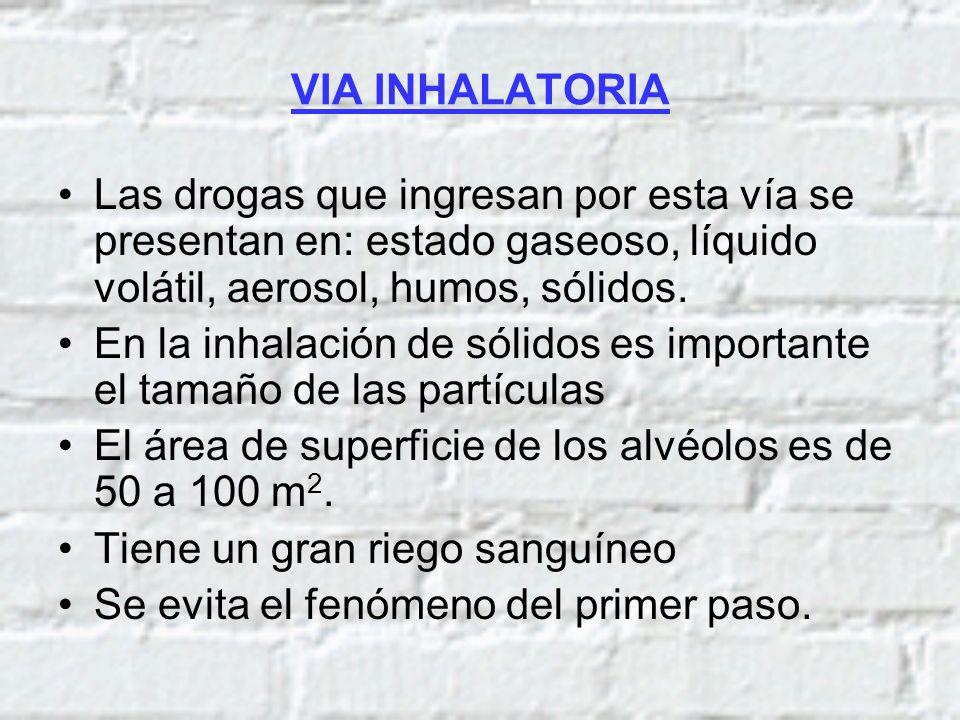 VIA INHALATORIA Las drogas que ingresan por esta vía se presentan en: estado gaseoso, líquido volátil, aerosol, humos, sólidos.