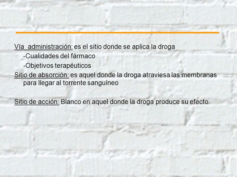 Vía administración: es el sitio donde se aplica la droga