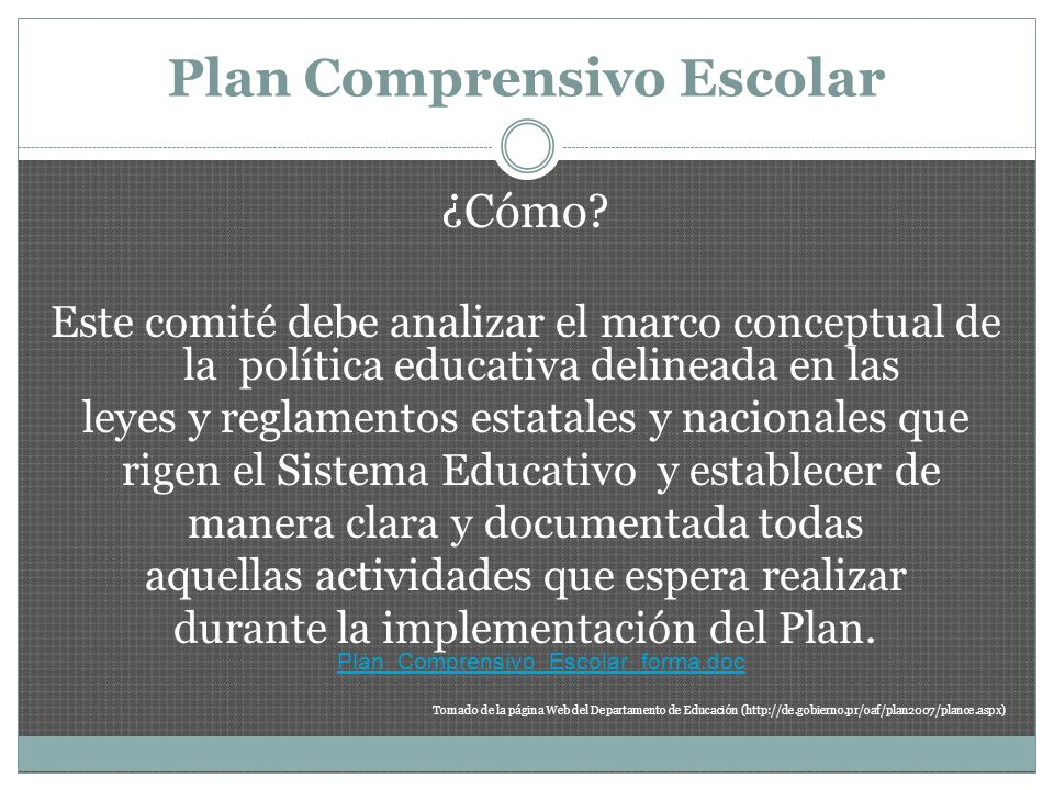 Plan Comprensivo Escolar