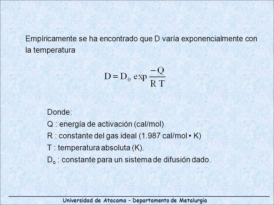 Empíricamente se ha encontrado que D varía exponencialmente con la temperatura