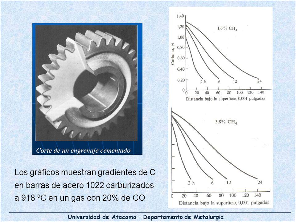 Los gráficos muestran gradientes de C en barras de acero 1022 carburizados a 918 ºC en un gas con 20% de CO