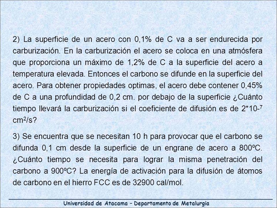 2) La superficie de un acero con 0,1% de C va a ser endurecida por carburización. En la carburización el acero se coloca en una atmósfera que proporciona un máximo de 1,2% de C a la superficie del acero a temperatura elevada. Entonces el carbono se difunde en la superficie del acero. Para obtener propiedades optimas, el acero debe contener 0,45% de C a una profundidad de 0,2 cm. por debajo de la superficie ¿Cuánto tiempo llevará la carburización si el coeficiente de difusión es de 2*10-7 cm2/s