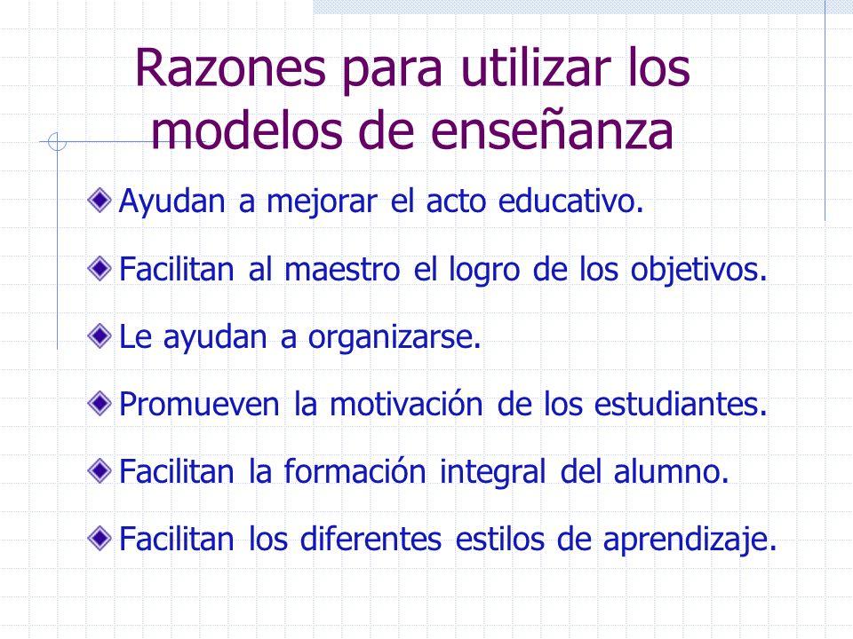 Razones para utilizar los modelos de enseñanza
