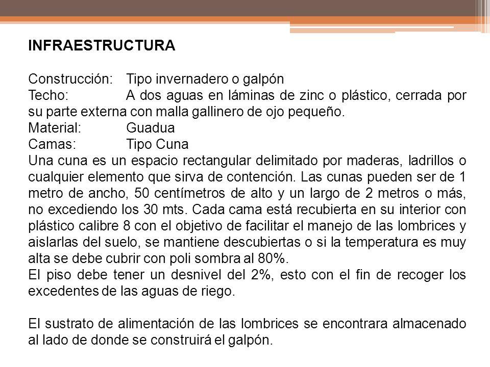 INFRAESTRUCTURA Construcción: Tipo invernadero o galpón