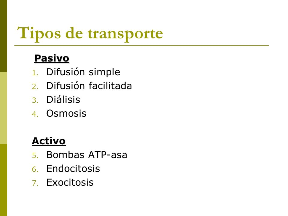 Tipos de transporte Pasivo Difusión simple Difusión facilitada