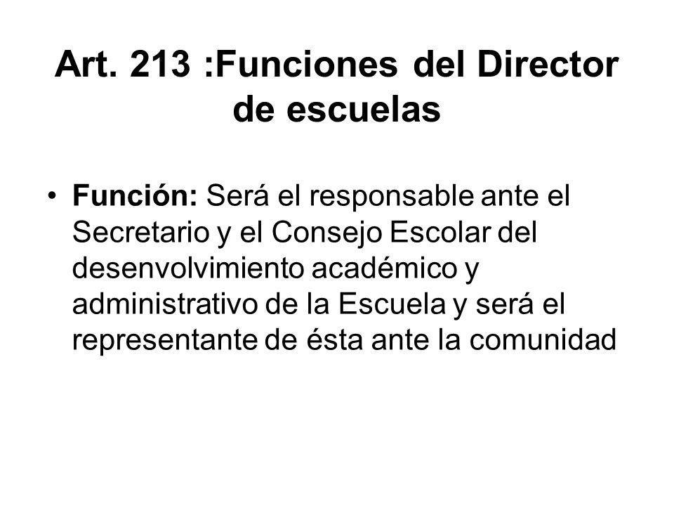 Art. 213 :Funciones del Director de escuelas