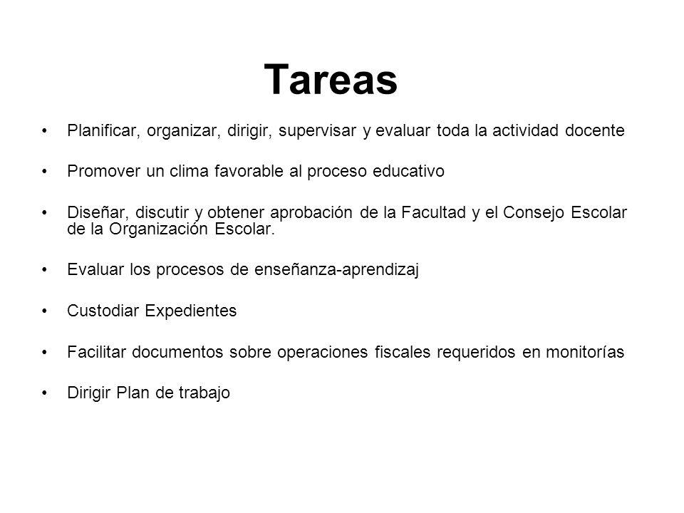 Tareas Planificar, organizar, dirigir, supervisar y evaluar toda la actividad docente. Promover un clima favorable al proceso educativo.