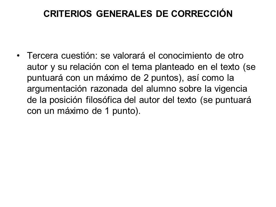 CRITERIOS GENERALES DE CORRECCIÓN