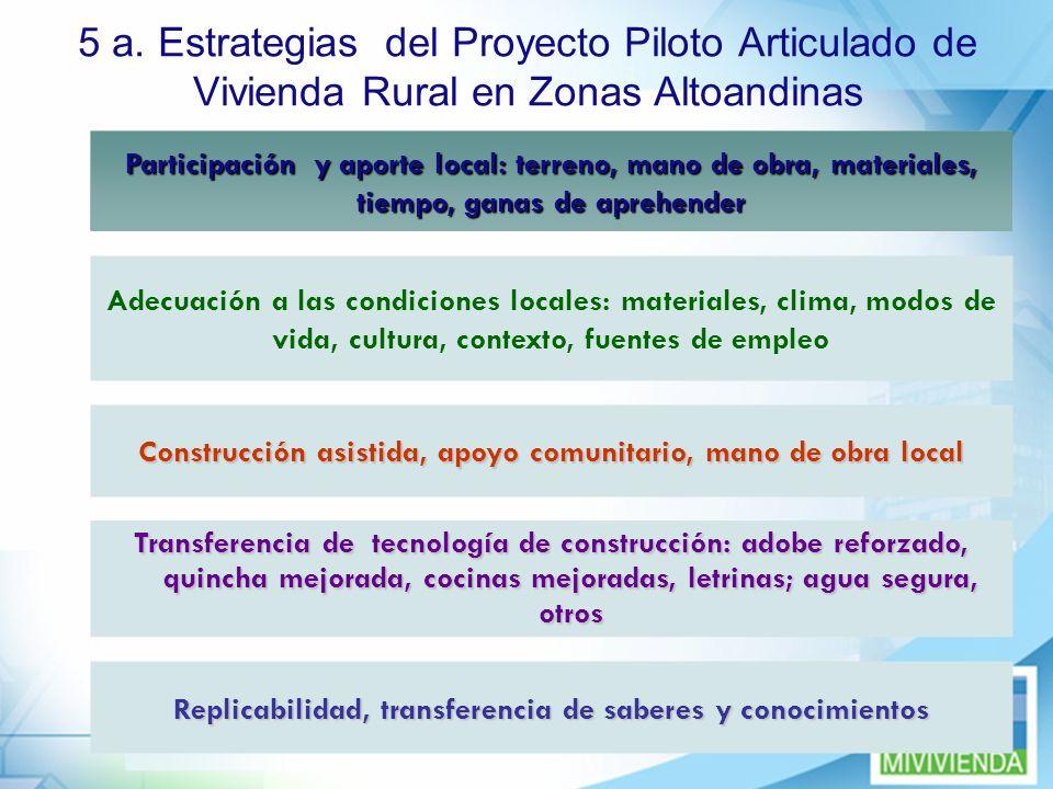 5 a. Estrategias del Proyecto Piloto Articulado de Vivienda Rural en Zonas Altoandinas