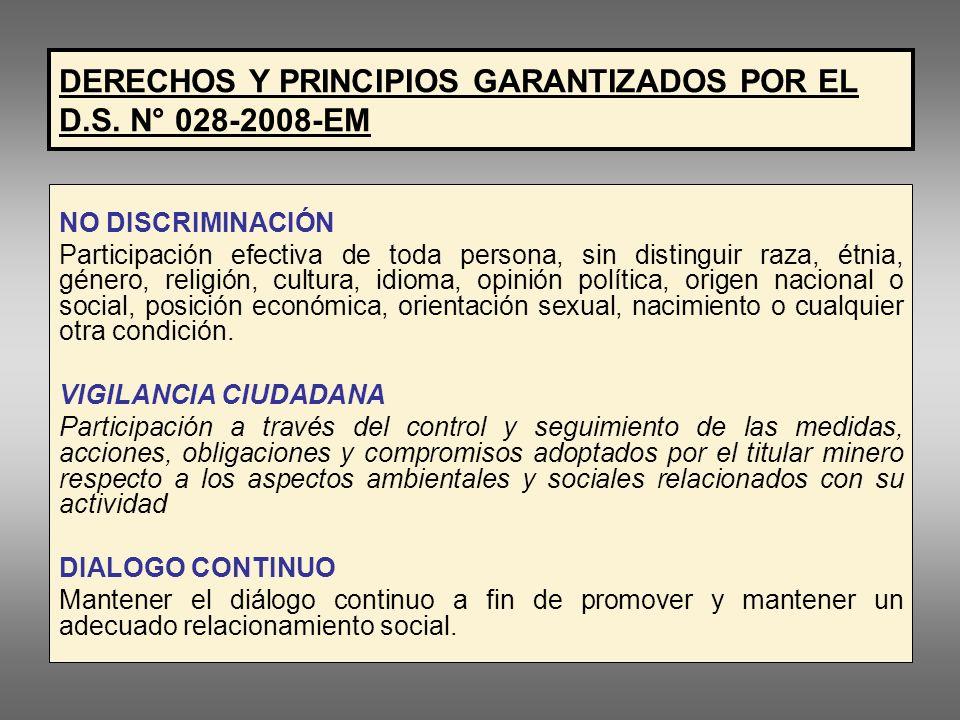 DERECHOS Y PRINCIPIOS GARANTIZADOS POR EL D.S. N° 028-2008-EM