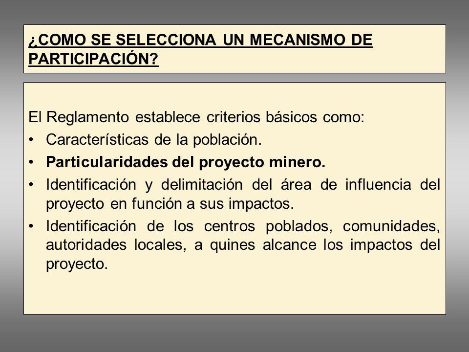 ¿COMO SE SELECCIONA UN MECANISMO DE PARTICIPACIÓN