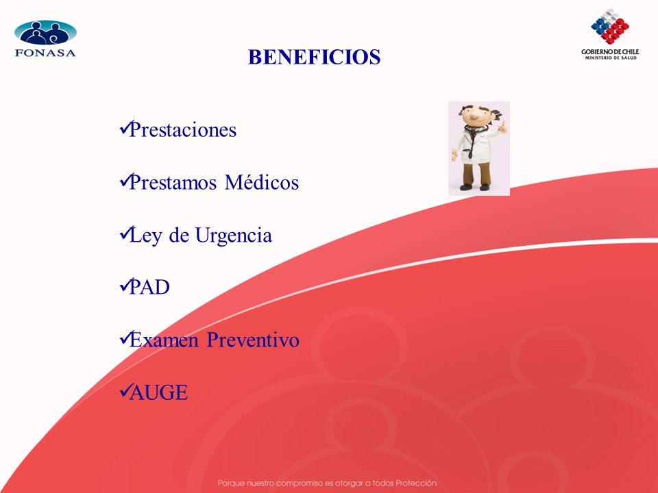 BENEFICIOS Prestaciones Prestamos Médicos Ley de Urgencia PAD Examen Preventivo AUGE