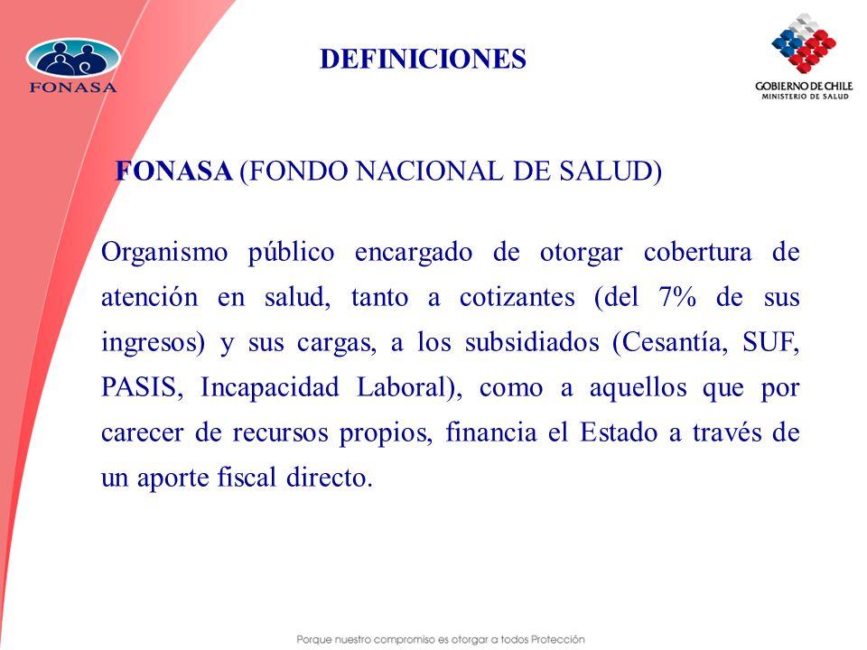DEFINICIONES FONASA (FONDO NACIONAL DE SALUD)