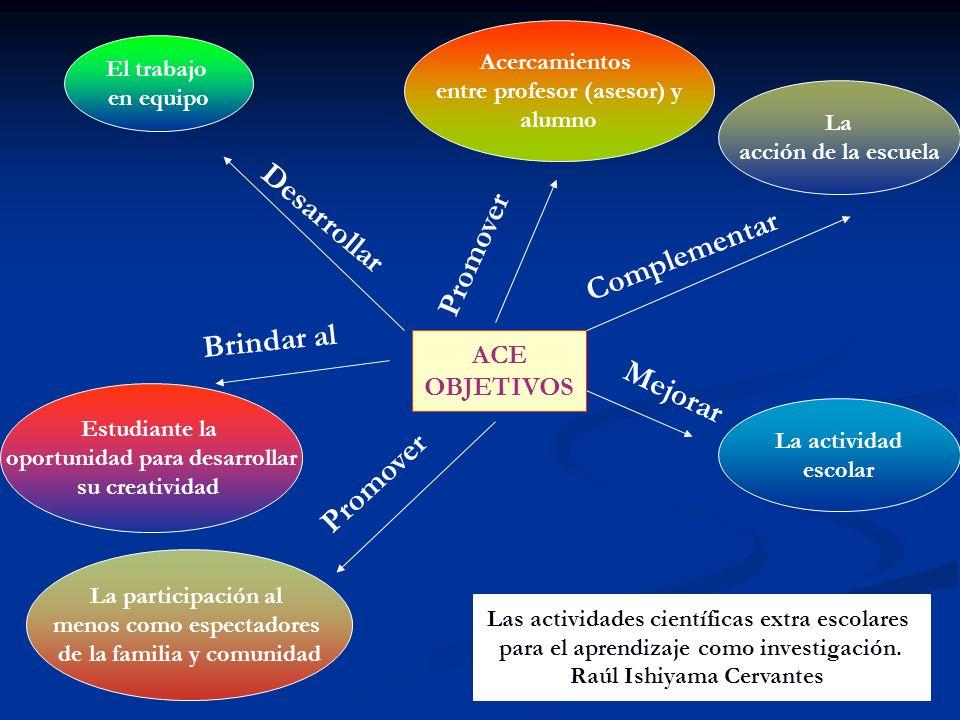 Desarrollar Promover Complementar Brindar al Mejorar Promover ACE