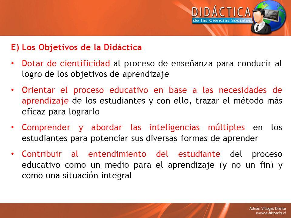 E) Los Objetivos de la Didáctica