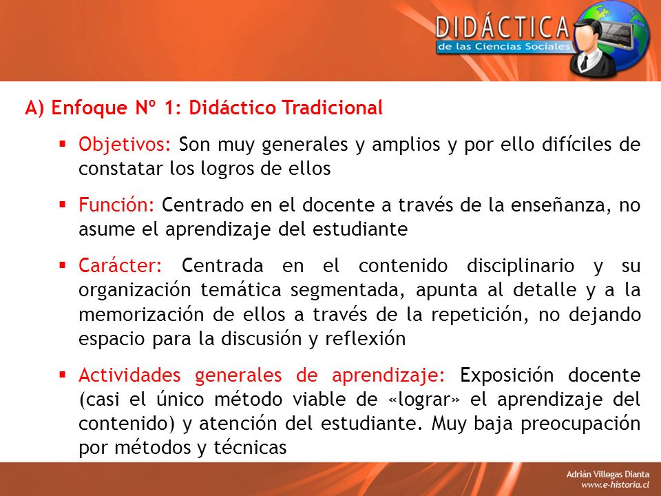 A) Enfoque Nº 1: Didáctico Tradicional
