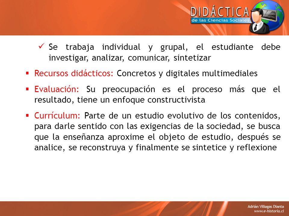 Se trabaja individual y grupal, el estudiante debe investigar, analizar, comunicar, sintetizar