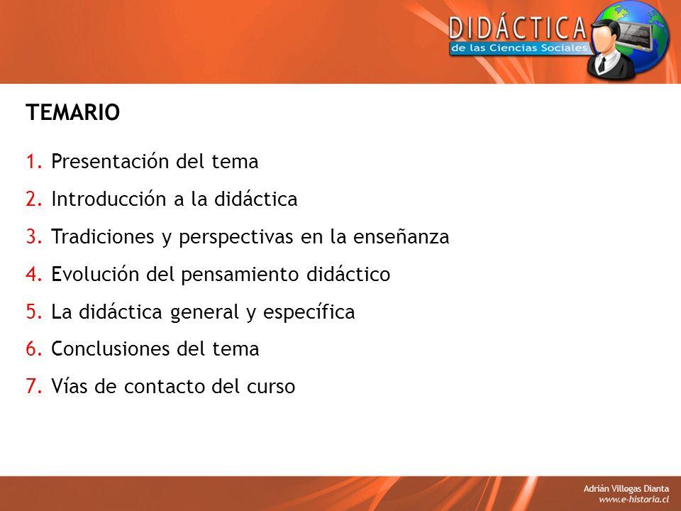 TEMARIO Presentación del tema Introducción a la didáctica