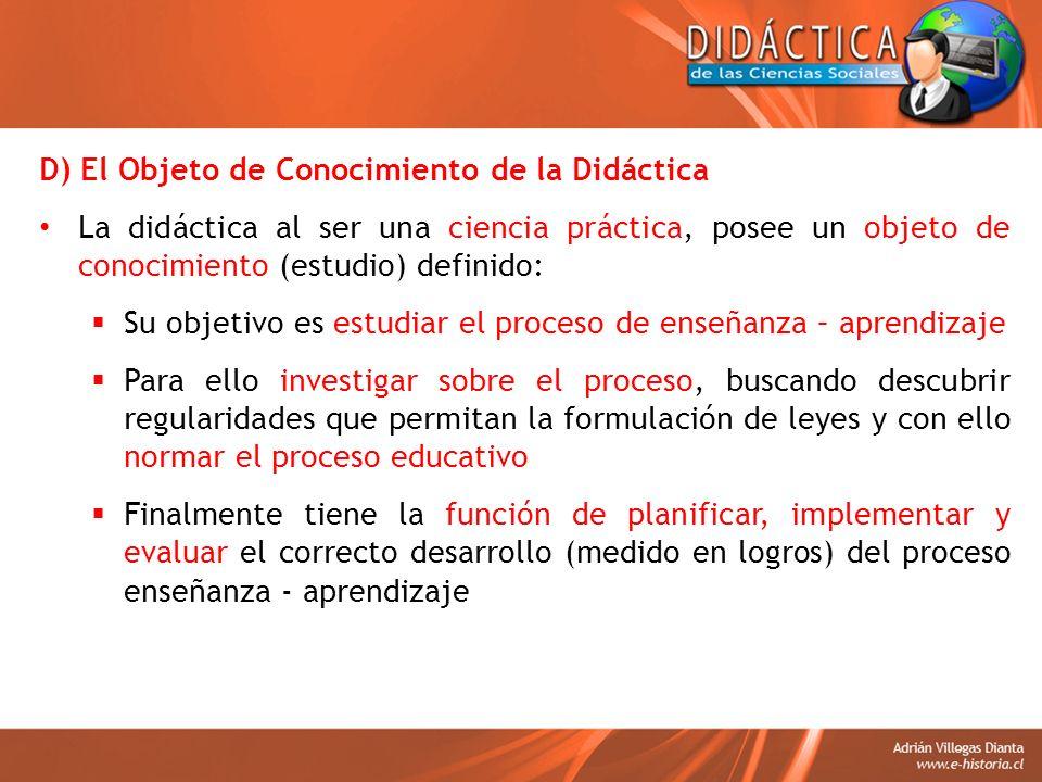 D) El Objeto de Conocimiento de la Didáctica