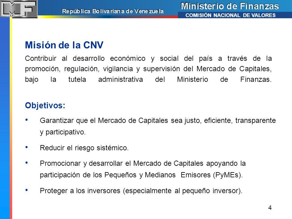 Misión de la CNV Objetivos: