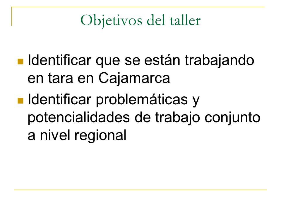 Objetivos del taller Identificar que se están trabajando en tara en Cajamarca.