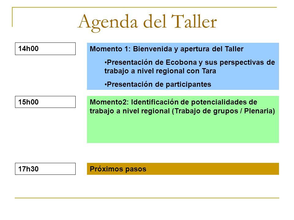 Agenda del Taller 14h00 Momento 1: Bienvenida y apertura del Taller