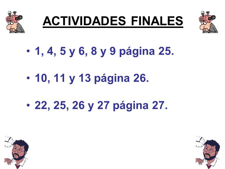 ACTIVIDADES FINALES 1, 4, 5 y 6, 8 y 9 página 25.