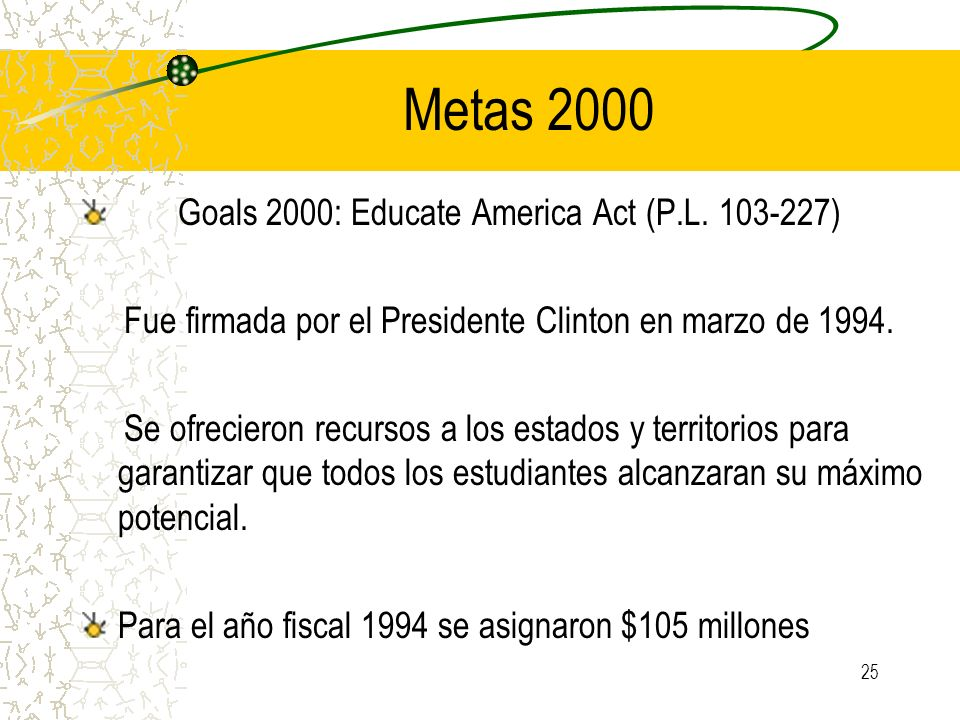Metas 2000 Goals 2000: Educate America Act (P.L )