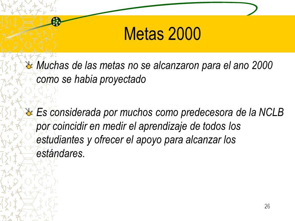 Metas 2000 Muchas de las metas no se alcanzaron para el ano 2000 como se habia proyectado.