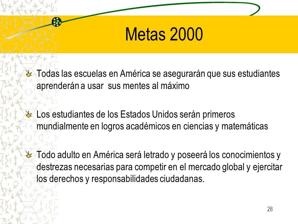 Metas 2000 Todas las escuelas en América se asegurarán que sus estudiantes aprenderán a usar sus mentes al máximo.