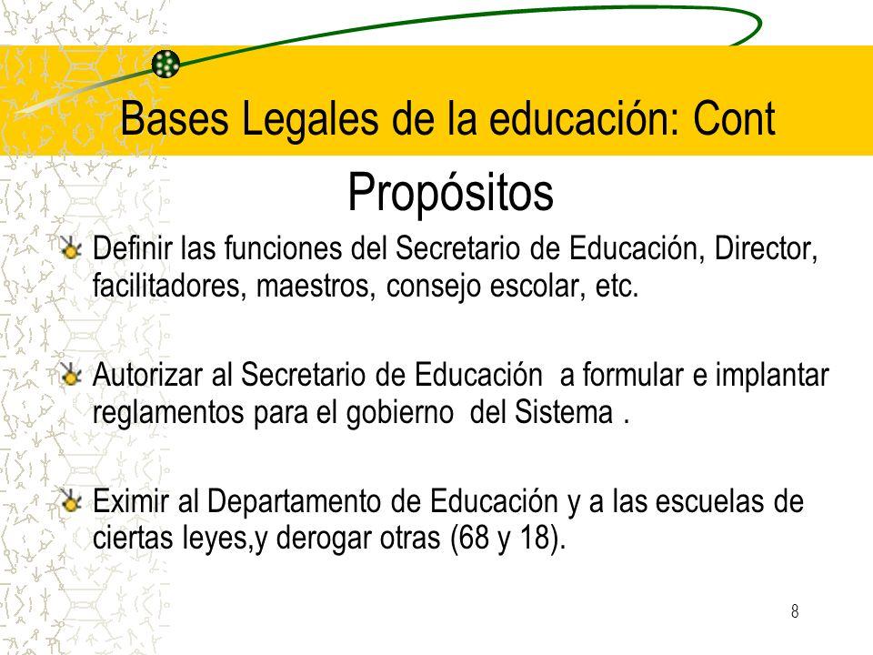 Bases Legales de la educación: Cont