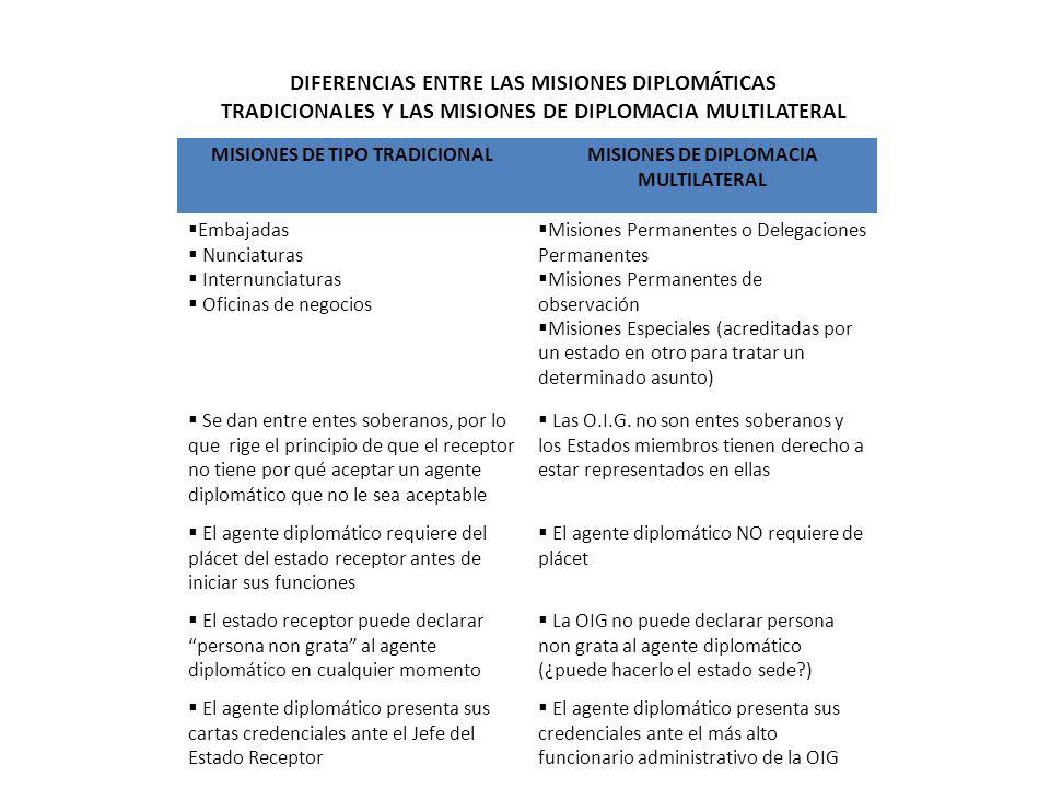 MISIONES DE TIPO TRADICIONAL MISIONES DE DIPLOMACIA MULTILATERAL