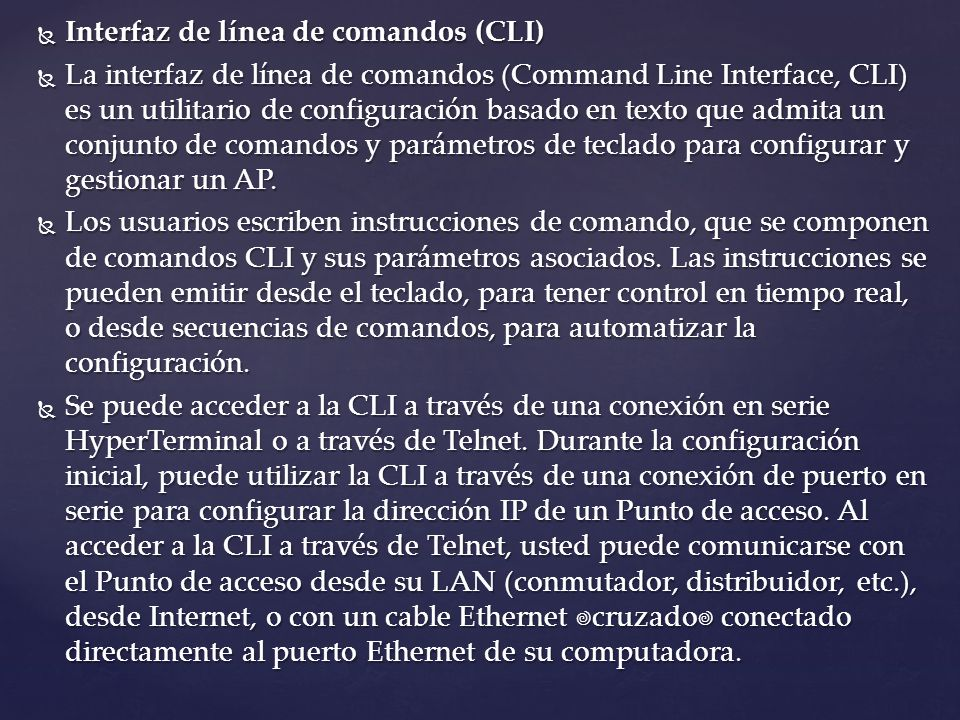 Interfaz de línea de comandos (CLI)