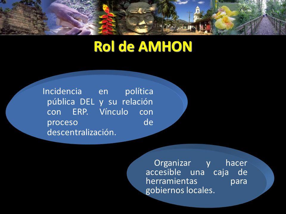 Rol de AMHON Incidencia en política pública DEL y su relación con ERP. Vínculo con proceso de descentralización.