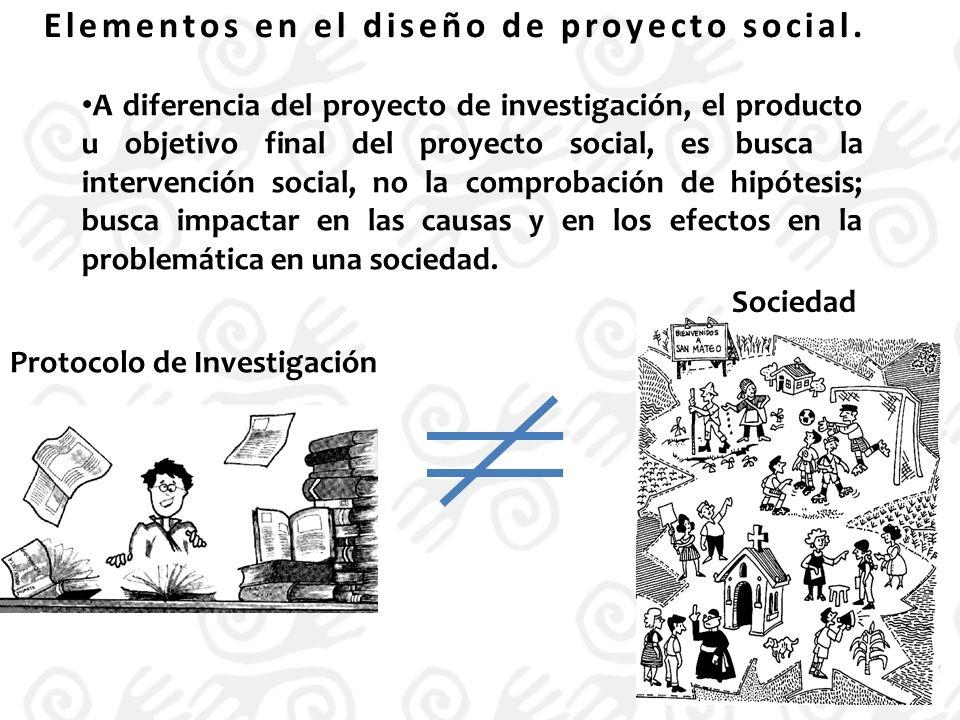Elementos en el diseño de proyecto social.
