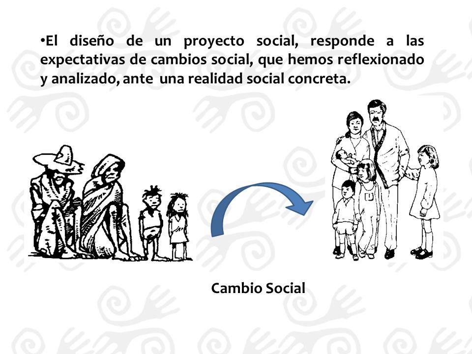 El diseño de un proyecto social, responde a las expectativas de cambios social, que hemos reflexionado y analizado, ante una realidad social concreta.