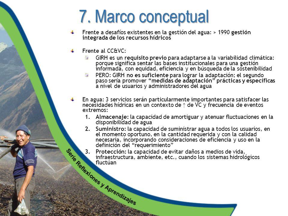 7. Marco conceptual Frente a desafíos existentes en la gestión del agua: > 1990 gestión integrada de los recursos hídricos.