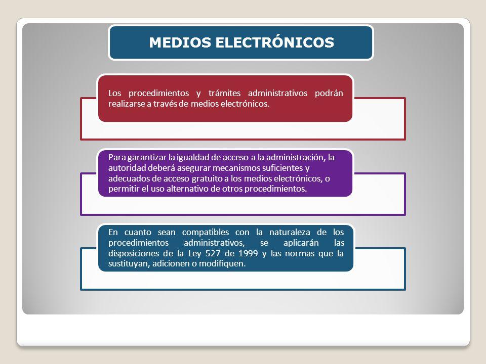 MEDIOS ELECTRÓNICOSLos procedimientos y trámites administrativos podrán realizarse a través de medios electrónicos.