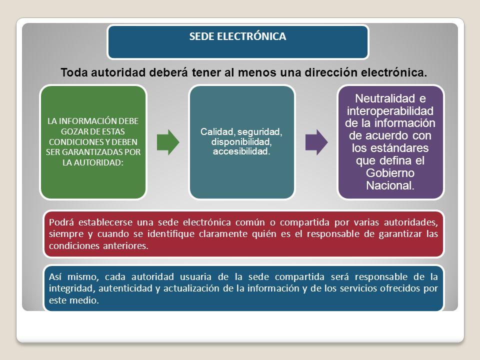 Toda autoridad deberá tener al menos una dirección electrónica.