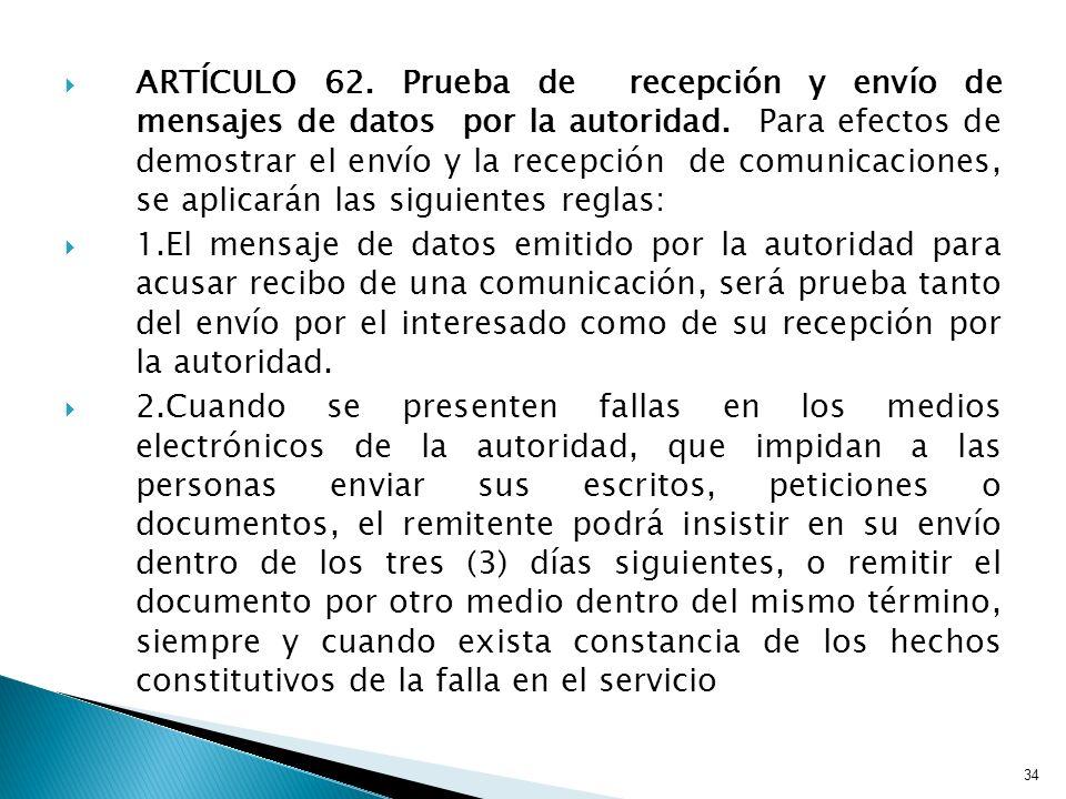 ARTÍCULO 62. Prueba de recepción y envío de mensajes de datos por la autoridad. Para efectos de demostrar el envío y la recepción de comunicaciones, se aplicarán las siguientes reglas: