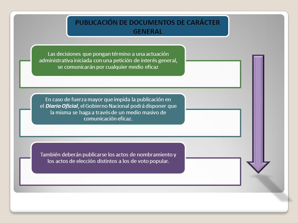 PUBLICACIÓN DE DOCUMENTOS DE CARÁCTER GENERAL