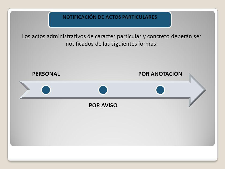 NOTIFICACIÓN DE ACTOS PARTICULARES
