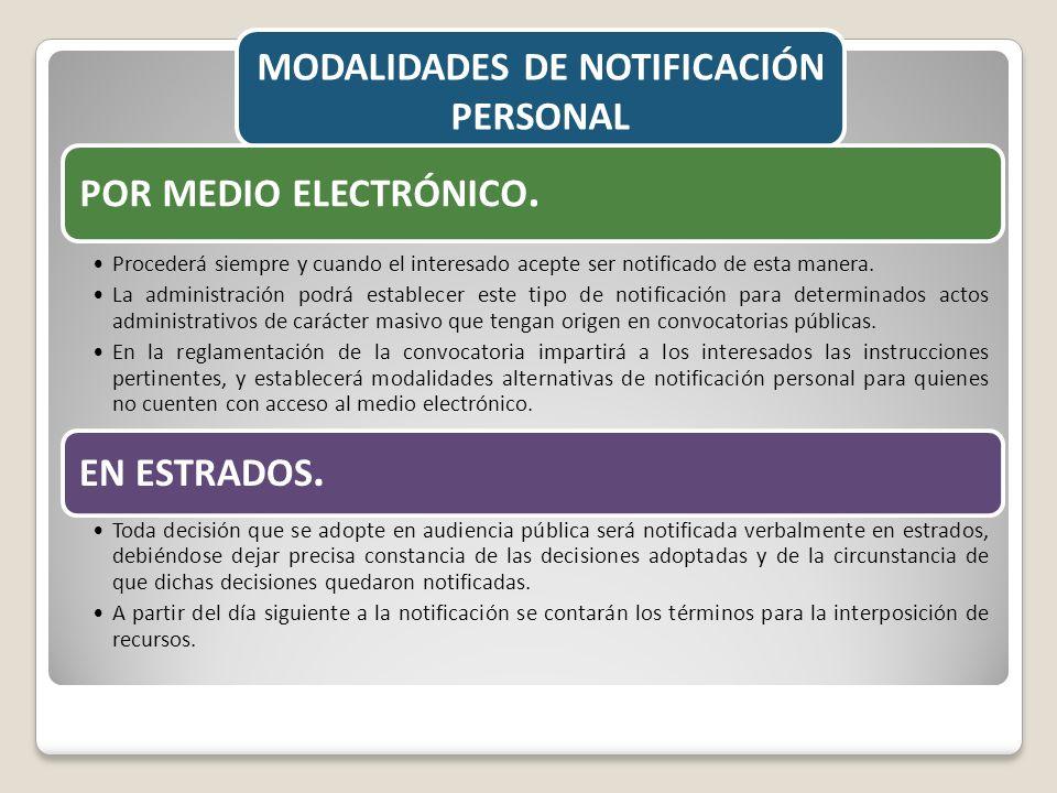 MODALIDADES DE NOTIFICACIÓN PERSONAL