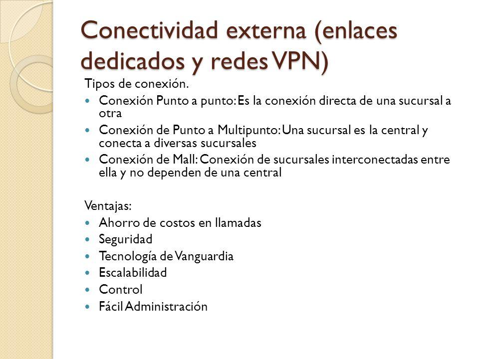 Conectividad externa (enlaces dedicados y redes VPN)