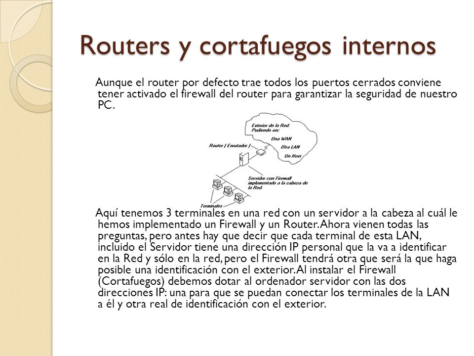 Routers y cortafuegos internos